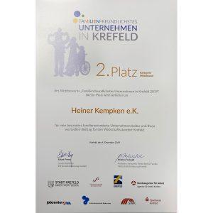 Urkunde Familienfreundliches Unternehmen Platz 2.