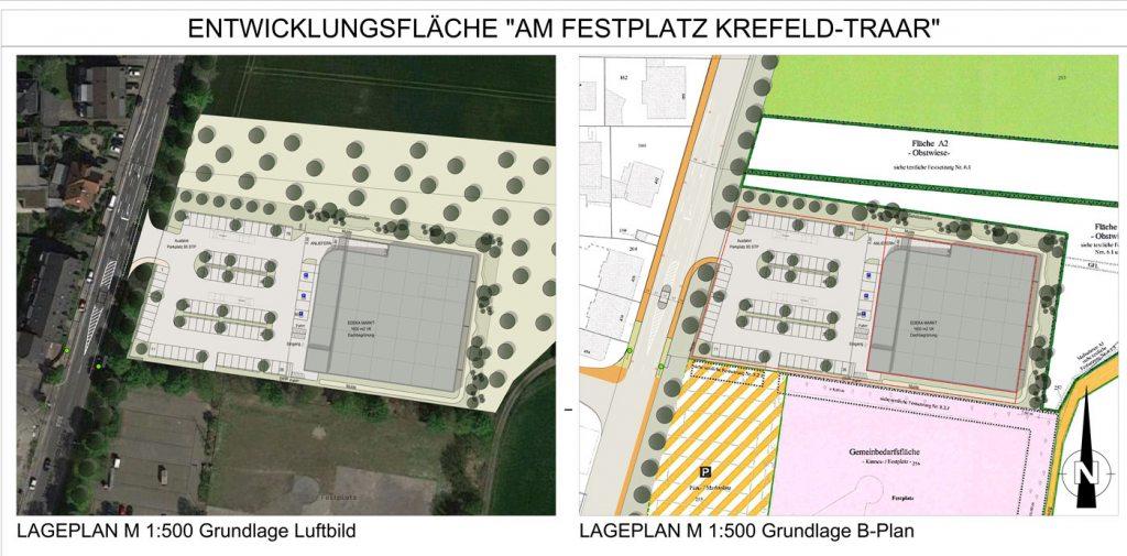 Übersicht vom neuen Edeka Kempken Supermarkt in Traar