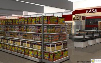 08 Eine Vielzahl an Regalen bietet eine umfangreiche Produktauswahl (Foto: © Plaungsgruppe Rhein-Ruhr)