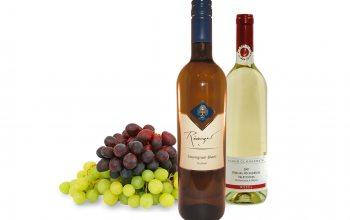 Sauvignon Blanc vom Weingut Rödinger und Riesling vom Weingut Clüsserath (Foto Trauben: © pixabay)