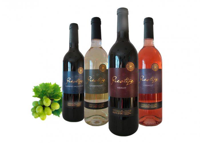 (v.l.) PRESTIGE - Cabernet-Sauginon, Chardonnay, Merlot, Chinsault ( Foto Trauben: © pixabay)
