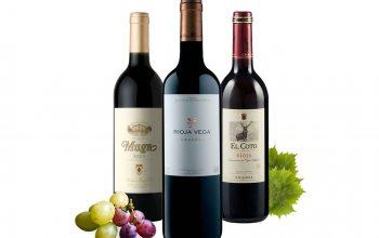 """v.l. Rioja Muga Reserva Jg. 2008, Vega Reserva Jg. 2005, """"El Coto"""" Crianza Jg.2008 ( Foto Trauben: © pixabay)"""