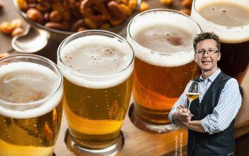 Prost! - Herr Kliemt, 3-Sterne-Diplom-Biersommelier, Bierbotschafter IHK und offizieller Bierbotschafter Tourismus NRW. (Hintergrundfoto: © Fotolia.de / Brent Hofacker)