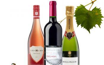 (v.l.) Spätburgunder Rosé 2014er G.H. von Mumm, Cape Moby Red 2012er, Bollinger Special Cuvée (Foto Blatt/Korken: © pixabay)