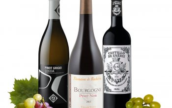 v.l. Pinot Grigio Goccia, Pinot Noir Vielles Vignes, Crianza (Foto Trauben und Blatt: @ pixabay)